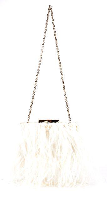 KATE SPADE White Feather Satin Belle Elliana Convertible Clutch