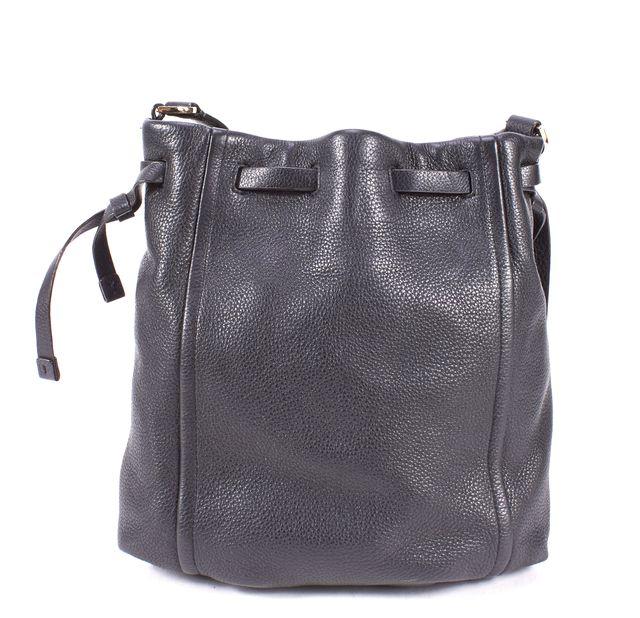 KATE SPADE Black Pebbled Leather Drawstring Bucket Crossbody