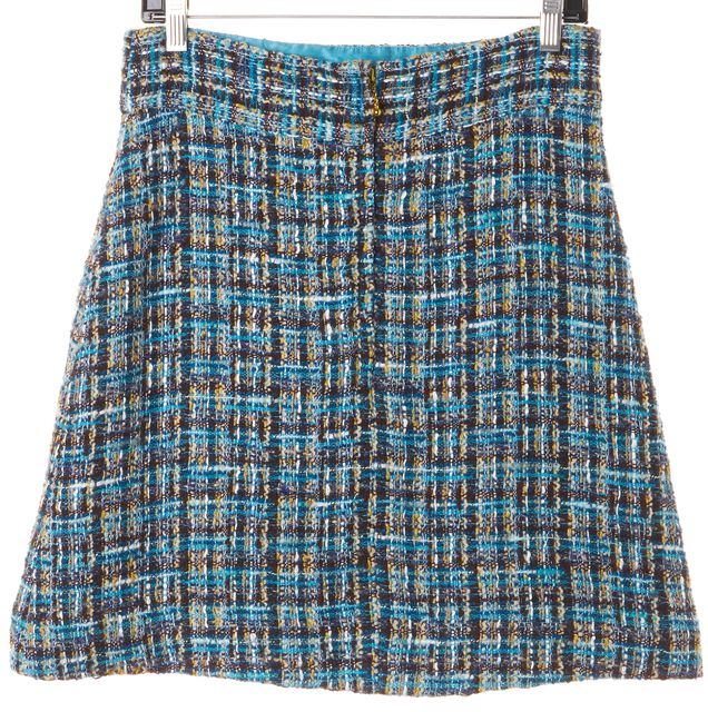 KATE SPADE Blue Brown Beige Tweed Wool Above Knee A-Line Skirt