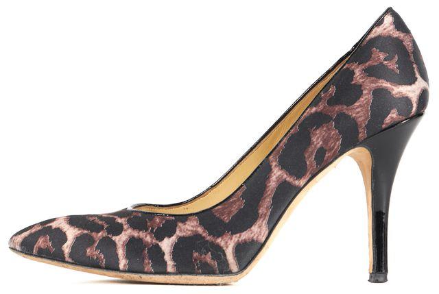 KATE SPADE Black Brown Leopard Print Satin Pump Heels