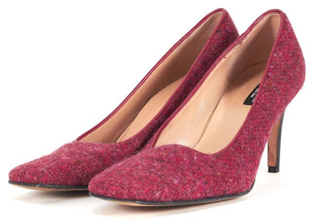 KATE SPADE Red Pink Tweed Leather Trim Square Toe Pump Heels