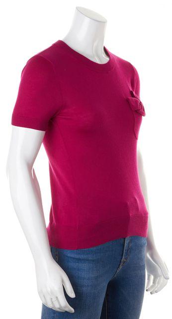 KATE SPADE Fuchsia Silk Bow Embellished Pocket Knit Top