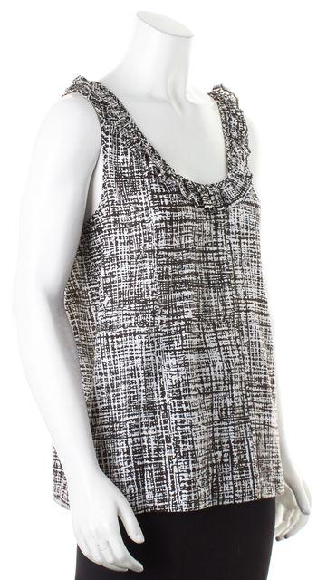 KATE SPADE Brown White Abstract Print Ruffled Sleeveless Blouse Top