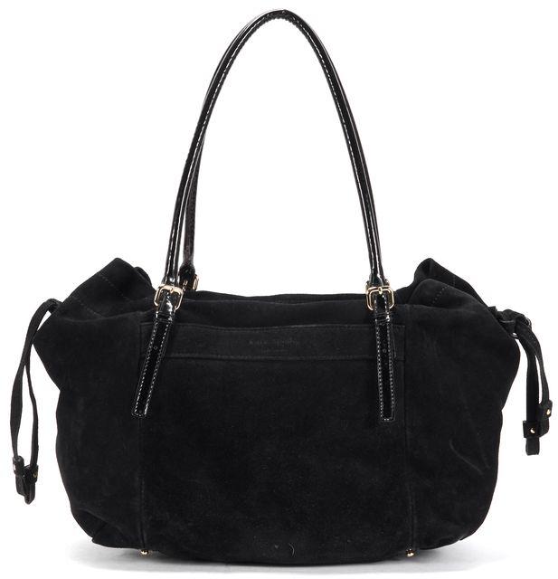 KATE SPADE Black Suede Patent Leather Handle Drawstring Shoulder Bag