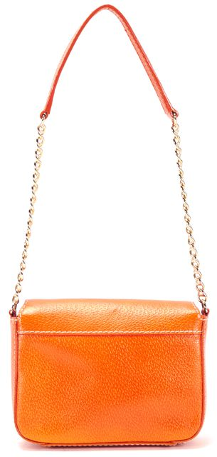 KATE SPADE Orange Leather Chain Strap Turnlock Shoulder Bag