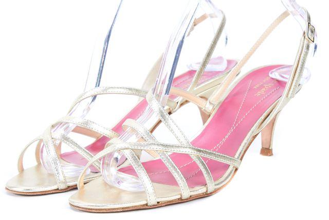 KATE SPADE Metallic Gold Leather Emily Slingbsck Sandal Heels
