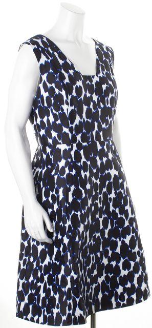 KATE SPADE Blue Black Animal Print Sleeveless Fit & Flare Dress