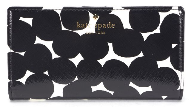 KATE SPADE Black White Vinyl Blot Dot Stacy Snap Wallet