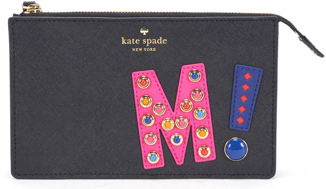KATE SPADE Black Saffiano Leather Embellished Pink Blue 'M' Leila Wristlet