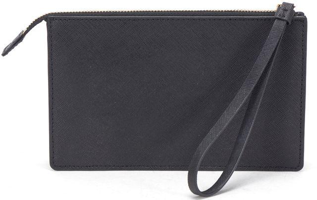 KATE SPADE Black Saffiano Leather Embellished Pink Blue 'M' Leila Wristlet