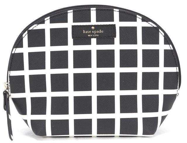 KATE SPADE Black White Check Grid PVC Zip-Up Cosmetic Bag Pouch