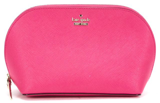 KATE SPADE Pink Saffiano Leather Cosmetic Bag Pouch