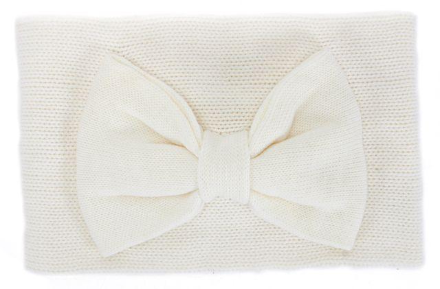KATE SPADE Cream Ivory Gathered Bow Neckwarmer Scarf