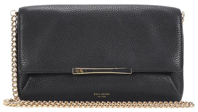 KATE SPADE Black Pebbled Leather Chain Strap Convertible Crossbody