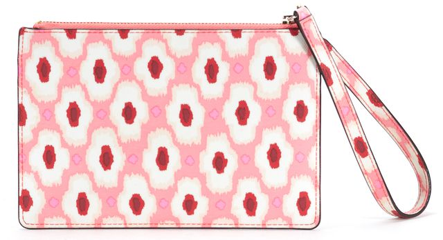 KATE SPADE Pink White Front Zipped Clutch