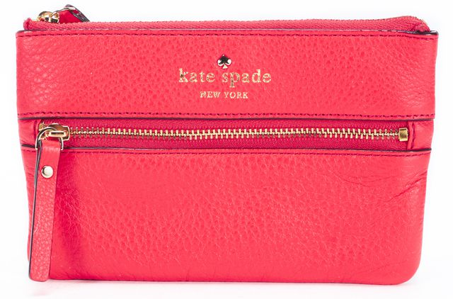 KATE SPADE Bright Red Pebbled Leather Bee Wristlet