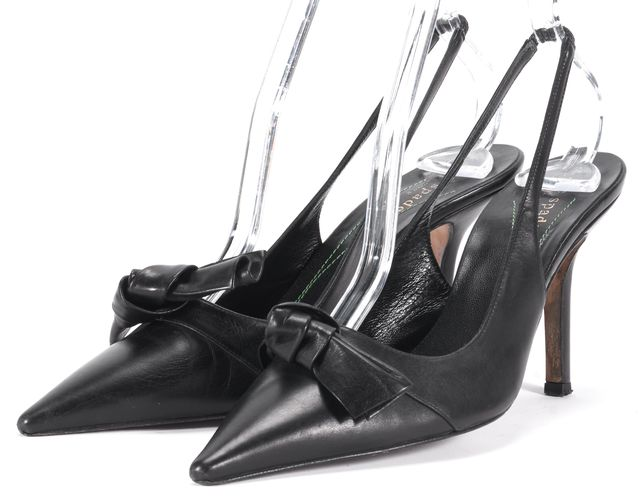 KATE SPADE Black Leather Pointed Toe Bow Pump Heels
