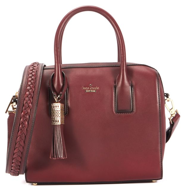 KATE SPADE Burgundy Red Leather Tassel Satchel Shoulder Bag