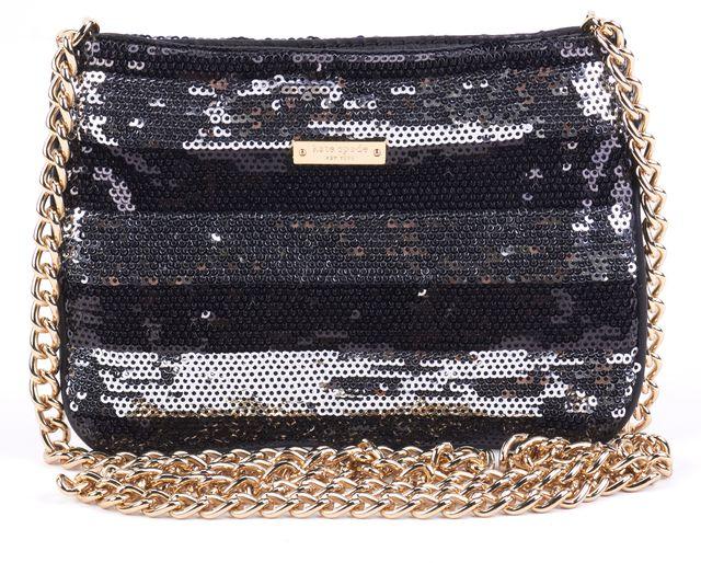 KATE SPADE Black Silver Striped Sequined Embellished Pochette Crossbody Mini Bag