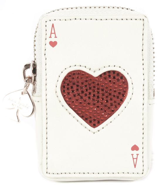 KATE SPADE White Leather ID Holder Card Case