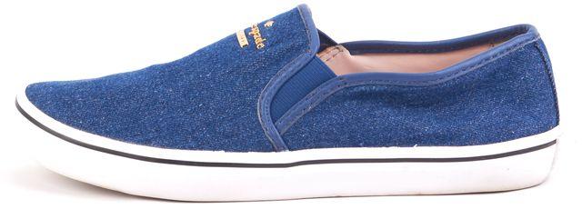 KATE SPADE Denim Blue Gold Logo Embellishment Slip-on Sneakers