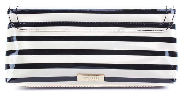 KATE SPADE Beige Black Striped Leather Clutch