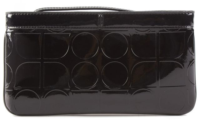 KATE SPADE Black Patent Geometric Shape Embossed Leather Wristlet