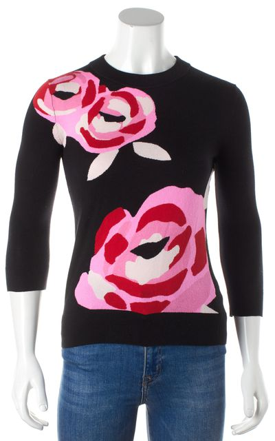KATE SPADE Black Crewneck Pink and Red Floral Cropped Sleeve Sweater