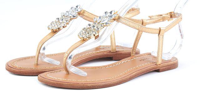 KATE SPADE Gold Embellished Leather T-Strap Sandals