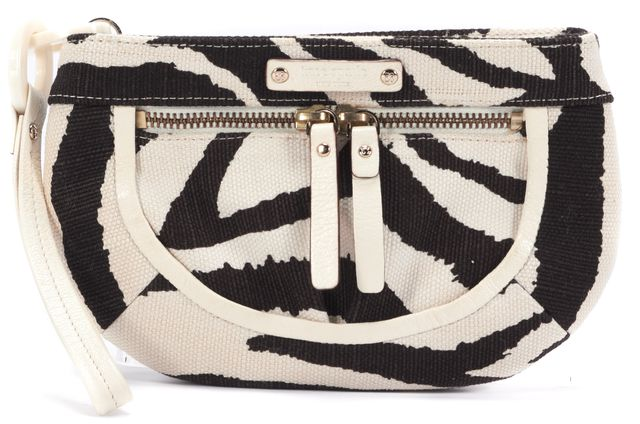 KATE SPADE Chocolate and Ivory Zebra Delano Wristlet