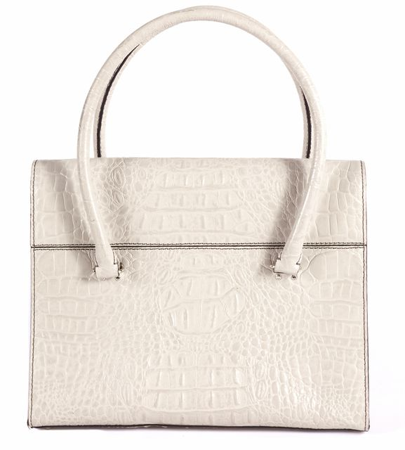KATE SPADE Ivory Crocodile Shoulder Bag