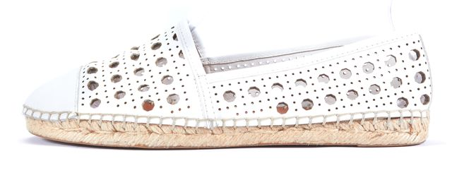 KATE SPADE White Leather Perforated Detailed Espadrille Flats