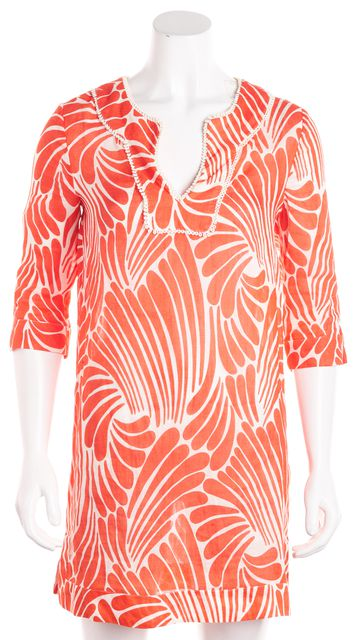 KATE SPADE Orange Abstract Silk Tunic Dress