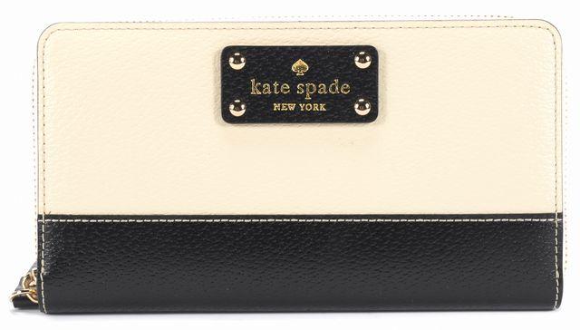 KATE SPADE Beige Black Leather Wallet