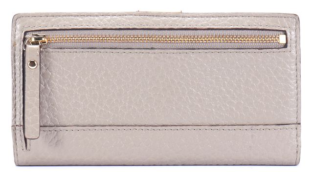 KATE SPADE Gray Gold Tone Zip Branded Button Snap Close Leather Wallet