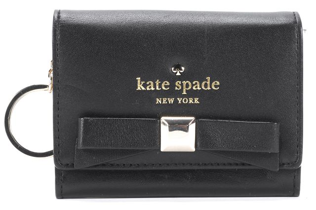 KATE SPADE Black Gold Tone Stud Embellished Bow Leather Key Chain Wallet