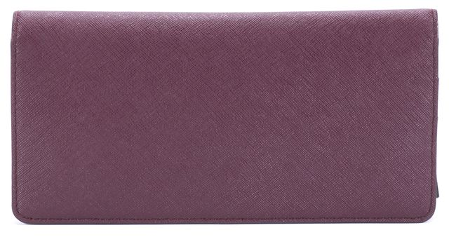 KATE SPADE Wine Red Gold Tone Logo Branded Leather Rectangle Wallet