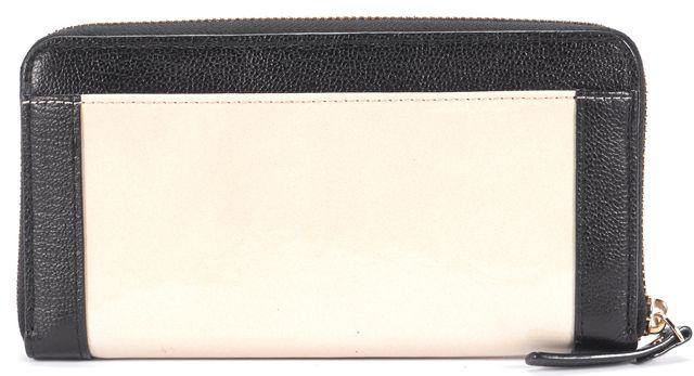 KATE SPADE Beige Patent Leather Black Bow Embellished Leather Trim Zip Wallet