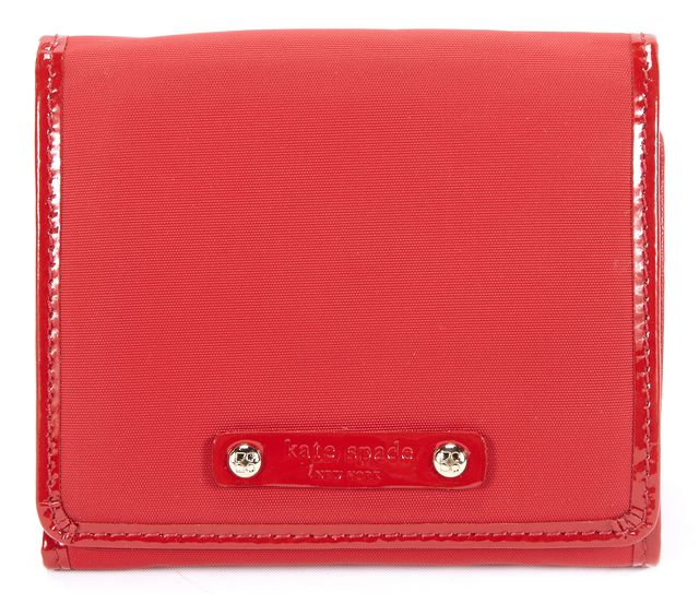 KATE SPADE Red Patent Leather Trim Wallet