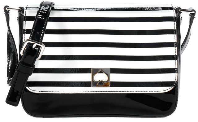 KATE SPADE Black Ivory Striped Gold Tone Logo Button Patent Leather Crossbody