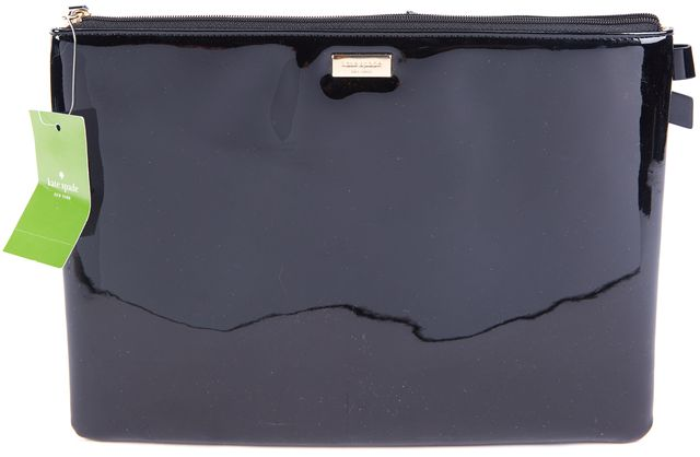 "KATE SPADE Black Gold Georgie ""Let Sparks Fly"" Bow Detailed Clutch"