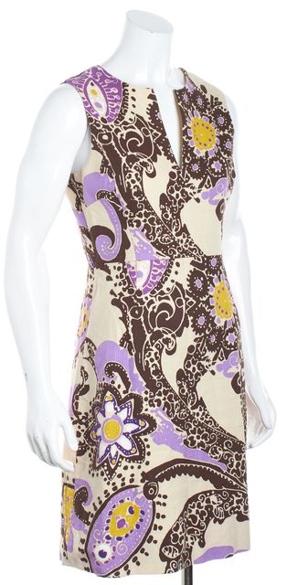 KATE SPADE Beige Brown Purple Yellow Abstract V-Neck Shift Dress