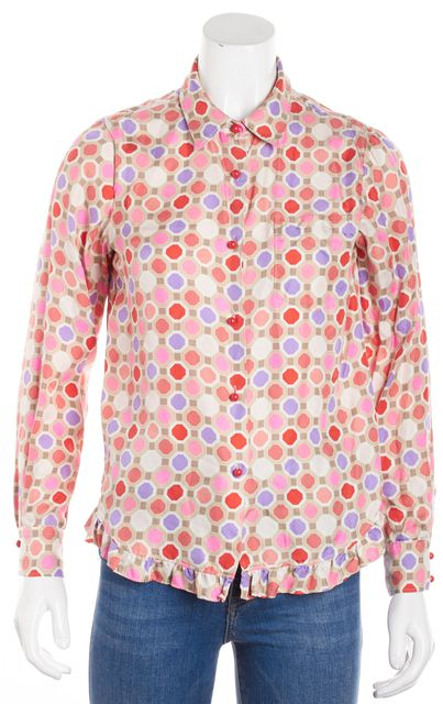 KATE SPADE Green Pink Purple Abstract Button Down Shirt Blouse