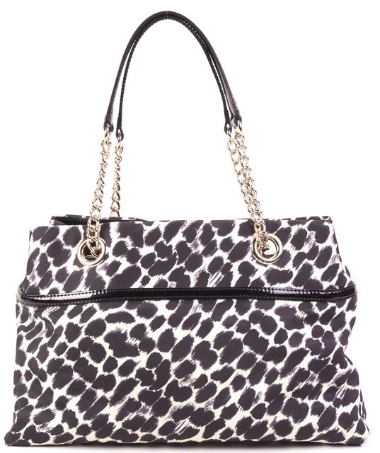 KATE SPADE White Black Patent Leather Bow Trim Cow Print Chain Link Tote