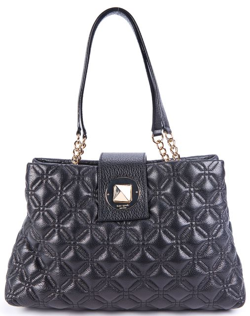 KATE SPADE Metallic Black Gold Tone Stud Lock Chain Link Leather Tote