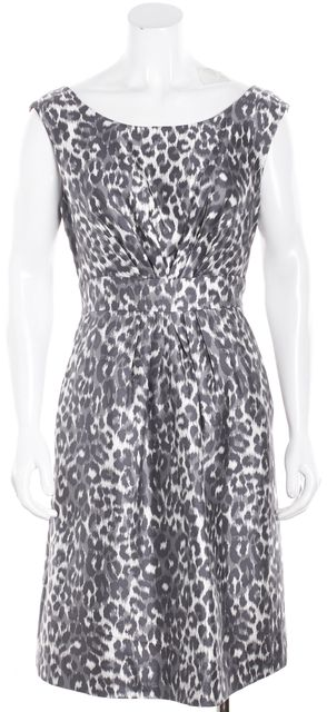 KATE SPADE Gray Leopard Animal Print Silk Ruched Shift Dress
