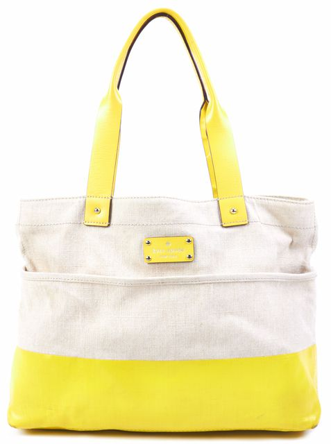KATE SPADE Beige Yellow Canvas Coated Canvas Combo Tote