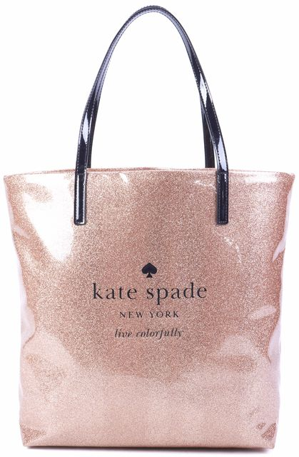 KATE SPADE Rose Gold Black Glitter Live Colorfully Bon Shopper Tote