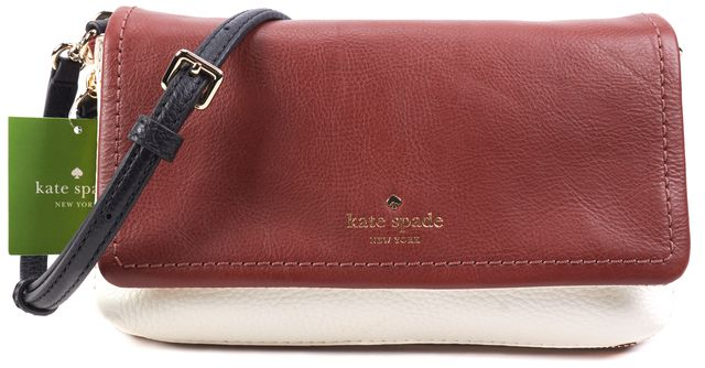 KATE SPADE Burgundy Red White and Black Leather Crossbody