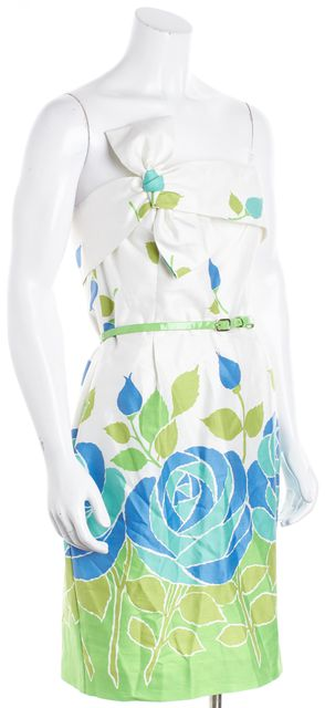 KATE SPADE White Multi Cotton Silk Floral Belted Contessa Sheath Dress